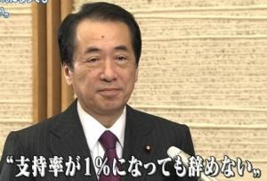 菅直人「支持率が1%になっても辞めない」